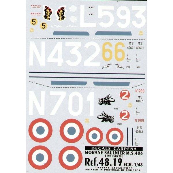 Décal Morane Saulnier 406 Part 1. (3) No 231 L593/5 6 Esc Groupe de Chasse III/7 No 113 N432/6 Groupe de Chasse II/3 No 289 N701