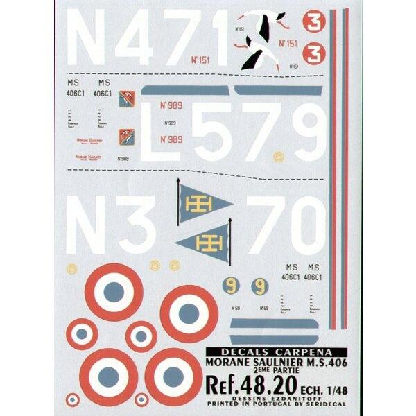 Décal Morane Saulnier 406 Part 2. (3) No 151 N471/3 Groupe de Chasse 1/2 No 989 L579 Groupe de Chasse II/3 No 59 N370/9 Groupe d