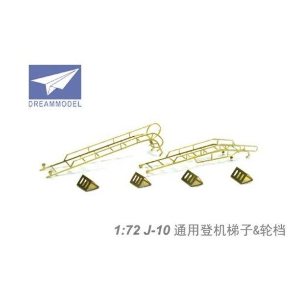 Chengdu J-10A/B/S les cales de roue et l'échelle (pour maquettes Trumpeter) (Chengdu J-10B/Chengdu les J-10S)
