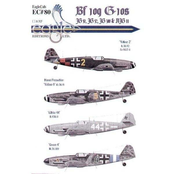 Décal Messerschmitt Bf 109G-10 (4) Yellow 2 II/JG52 ex KG(J)6 red/black check tail band Austria Yellow 5 10/JG51 Horst Petzschle