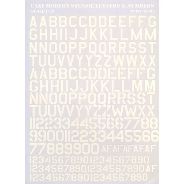 USAF modern stencil letters and numbers in White