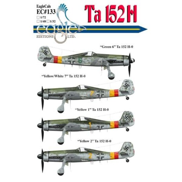Décal Focke Wulf Ta 152 subjects complete with new stencils for data plate placements and other newly revealed information