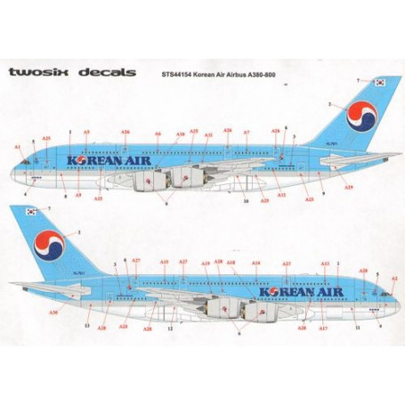 Décal Korean Air Airbus A380-861 Korean Air