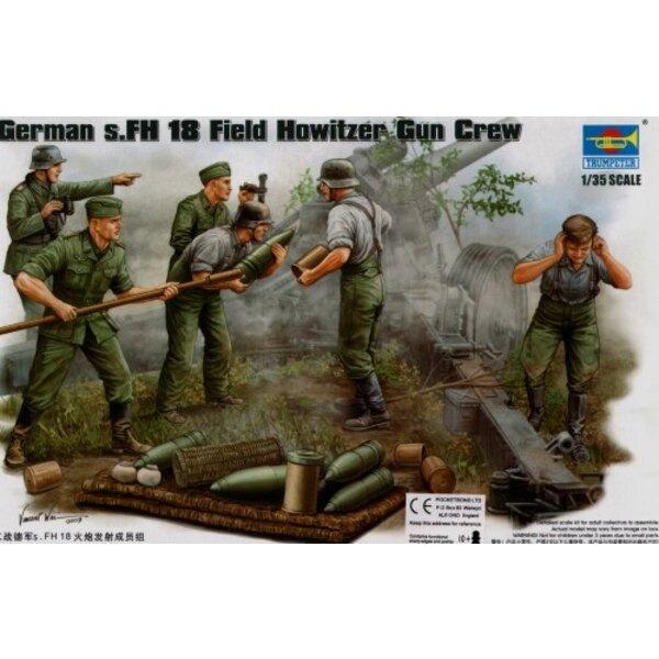 Servants d'obusier de campagne s.FH allemand 2ème GM; peloton d'approvisionnement en munition (4 figurines) et munitions