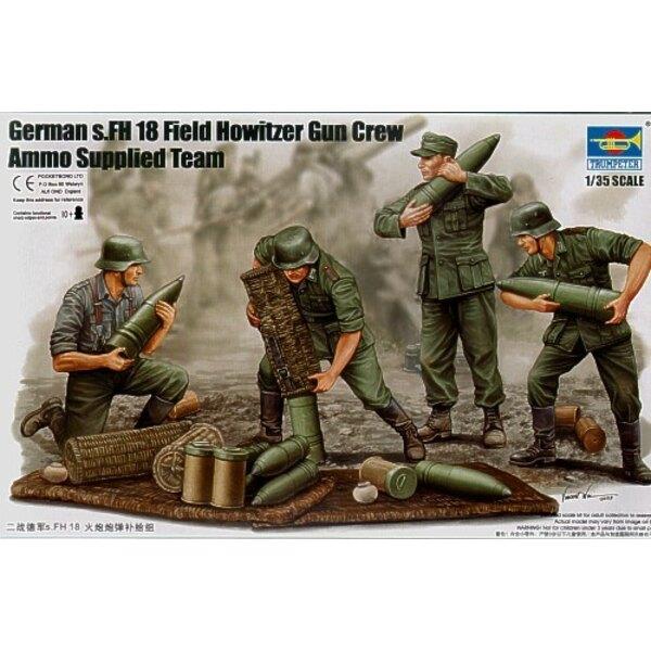 Servants d'obusier de campagne s.FH 18 allemand 2ème GM; peloton en train de charger les munitions (6 figurines) et munitions