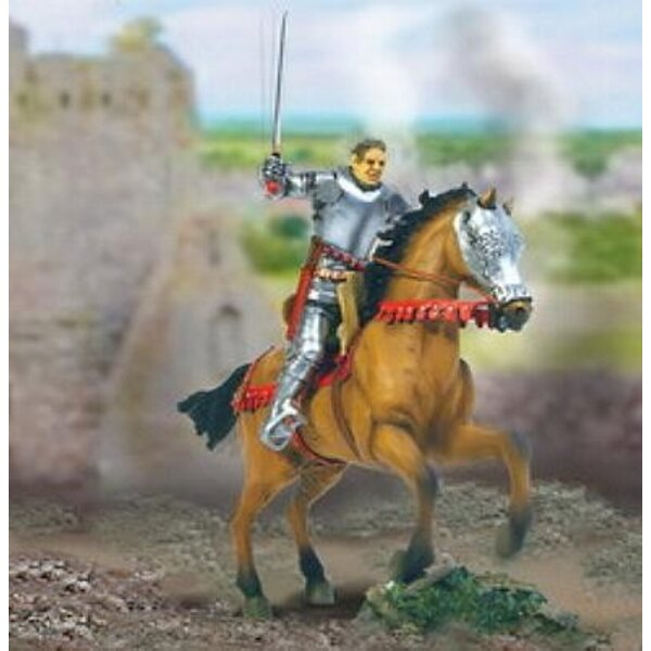 chevalier guerre 100ans+cheval 1/32