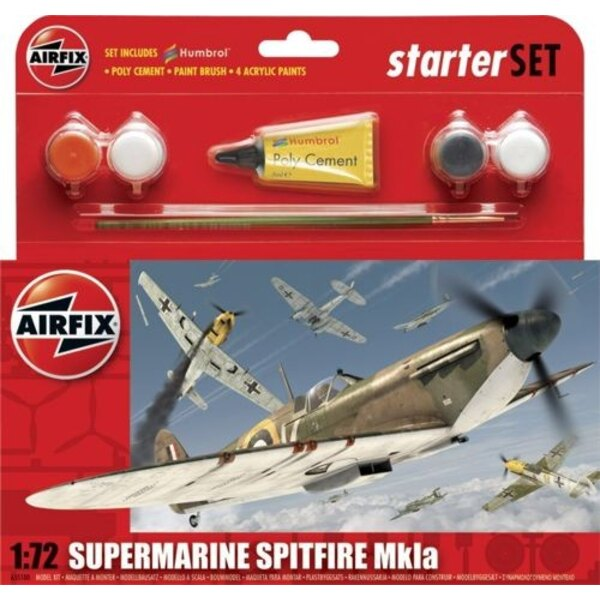 Supermarine Spitfire Mk.1a Starter Set includes Acrylic paints brushes and poly cement