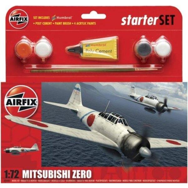 Mitisubishi Zero - Starter kit inclusivo di vernice acrilica, pennelli e colla