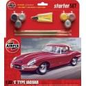 Jaguar Type E - Kit pour débutant avec peintures acrylique, pinceau et colle