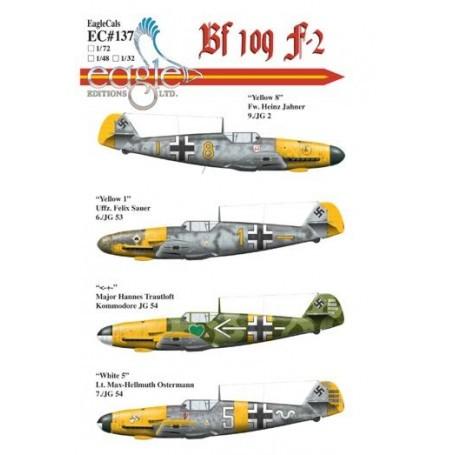 Décal Messerschmitt Bf 109F-2 includes.... Yellow 8 Fw. Heinz Jahner 9./JG 2 Yellow 1 Uffz. Felix Sauer 6./JG 53 < - + - Major H