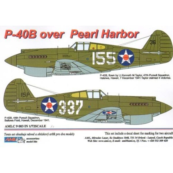 Curtiss P-40B over Pearl Harbor x 2