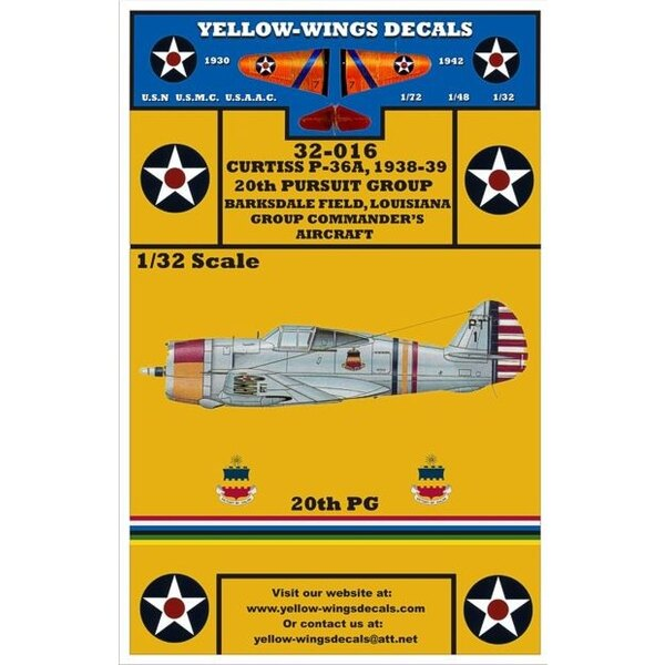 Décal USAAC P-36A (designed to be used with Special Hobby kits)
