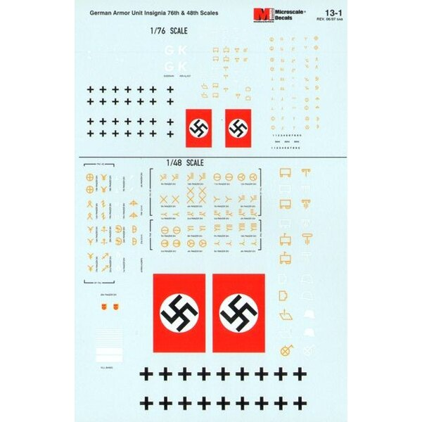 German Armour Unit Insignia 1940's 1:76 and 1:48
