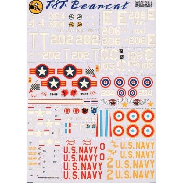 Grumman F8F Bearcat (10) USN 95081 3F-4 VF-3 1946; 94947 T/202 VF-12 1948; 121664 C/103 VF-83 Jolly Rogers USS Coral Sea 1949; 1