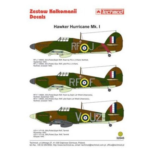 Hawker Hurricane Mk.I (3) V6665 RF-J Flt Lt J.A.Kent; V6684 RF-F S/L Witold Urbanowicz. both 303 (Polish) Sqn Northolt 9/1940; V