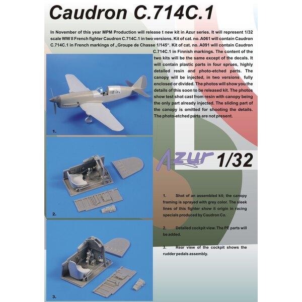 Caudron C.714C.1. Aviation française - décalques Groupe De Chasse 1/145. Décalques inclus avec marquages pour 4 machines utilisé