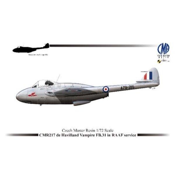 de Havilland Vampire FB.31 dans le Service de la RAAF avec pièces photodécoupées et pochoir