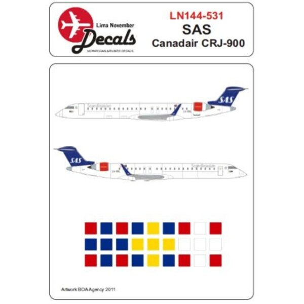 Décal Canadair CRJ-900 SAS Includes 12 registrations and names. Bonus Norwegian and Swedish registrations for SAS A330 and A340