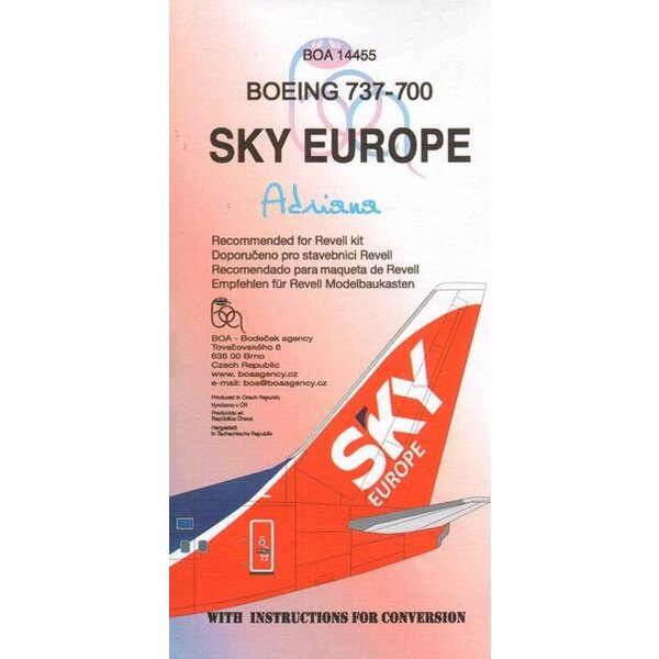 Boeing 737-700 SKY EUROPE ´Adriana OM-NGA(designed to be used with Revell kits)