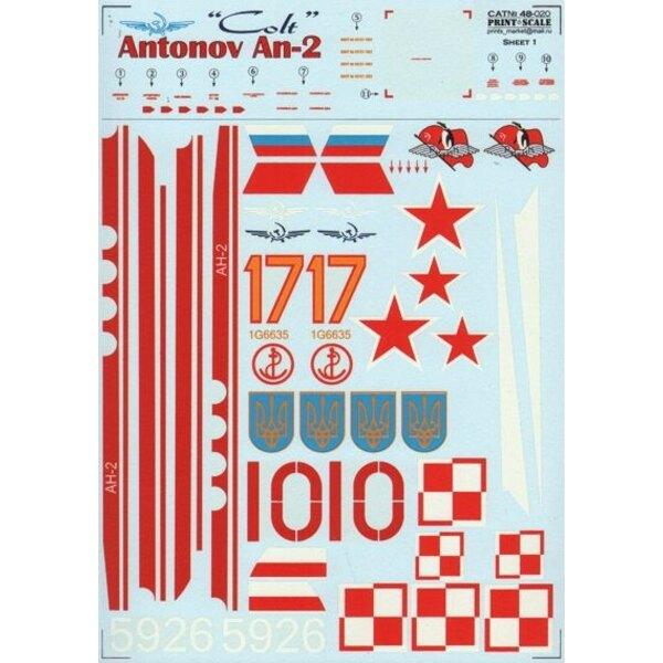 Antonov An-2 Colt (7) CCCP-01666 Aeroflot 1980, CCCP-04078 Polar Aircraft, RA-32392 Aeroflot 1990, SP-FAP Poland, Red 10 Aeroflo