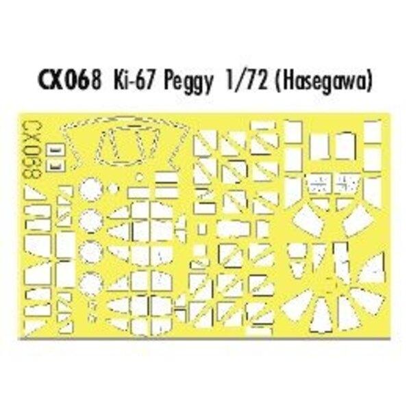 Verrière et roues de Peggy Ki-67 etc (pour maquettes Hasegawa) (fait à partir de bande jaune de Kabuki japonais)
