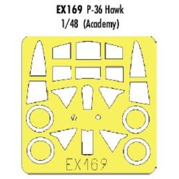 Curtiss P-36 Hawk (pour maquettes Academy) (fait à partir de bande jaune de Kabuki japonais)