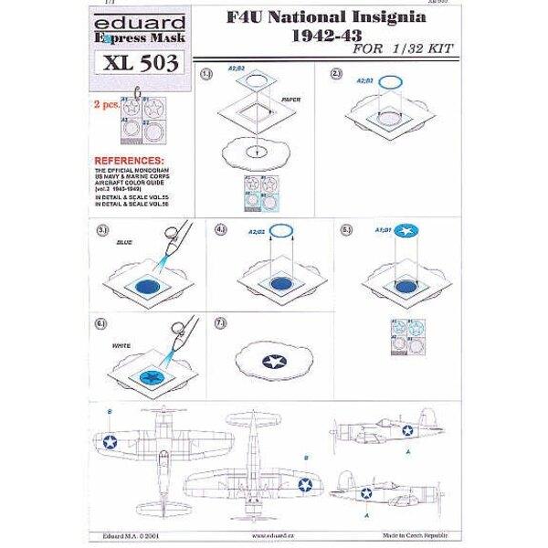 Vought F4U : insignes nationaux 1941-43. Pochoirs d'Insignes nationaux