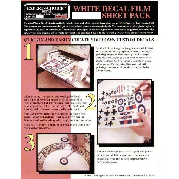 """Film de Décalque Blanc. Approx 11 x 8.5""""/215mm x 280 mm. Convenable pour le Jet d'Encre (inkjet)"""