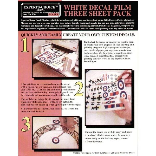"""3 films de décalques Blancs. Approx 11 x 8.5""""/215mm x 280 mm. Convenable pour le Jet d'Encre (inkjet)"""