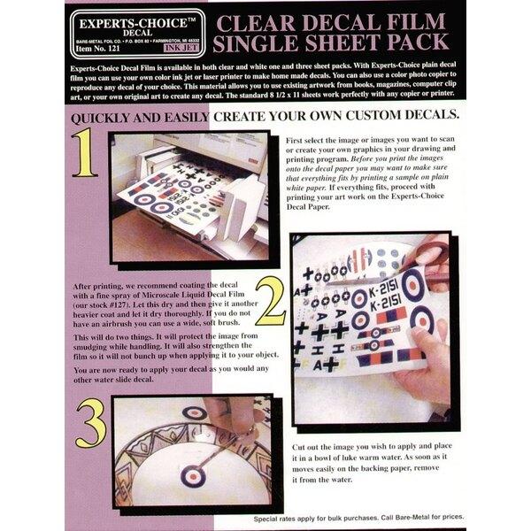 """Film de Décalque transparent. Approx 11 x 8.5""""/215mm x 280 mm. Convenable pour le Jet d'Encre (inkjet)"""