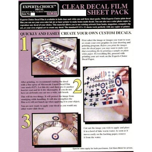 """3 Films de Décalques transparents. Approx 11 x 8.5""""/215mm x 280 mm. Convenable pour le Jet d'Encre (inkjet)"""