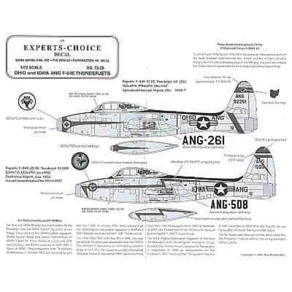 Republic F-84E Air National Guard (4) 49-2261or 51-508 162FIS 51-638 166FIS all Ohio ANG 1956 51-508 124FIS Iowa ANG