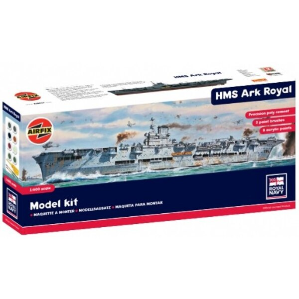 HMS Ark Royal aircraft carrier with glue paints and brushes