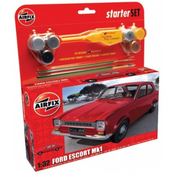 Ford Escort Mk.I Includes polystyrene cement 2 paint brushes & 6 acrylic paints . (Starter or gift sets)