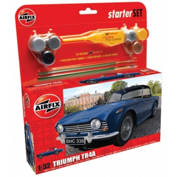 Triumph TR4A (gift or starter set with paints paint brush and glue)