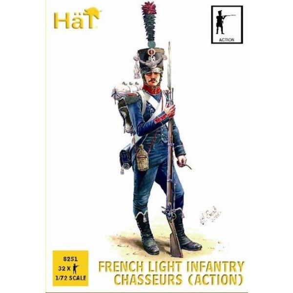 Chasseurs français en poses d'action. 32 figurines par boîte