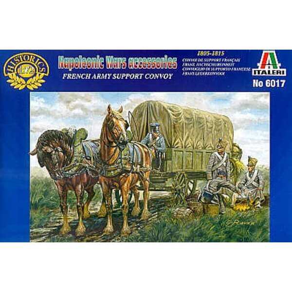 Convoi de ravitaillement à cheval français Napoléonien : chariot, tonneaux, caisses et figurines.