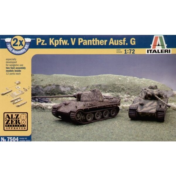 Pz.Kpfw.V Panther Ausf.G le Kit inclut 2 maquettes de char à clipser (snap together)