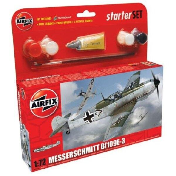Messerschmitt Bf 109E-3 Set pour débutant comprenant la peinture acrylique, le pinceau et la colle