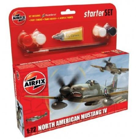 North-American P-51D Mustang Set pour débutant comprenant la peinture acrylique, le pinceau et la colle