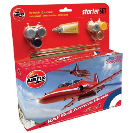 Bae Hawk T.1 Red Arrows Starter Set includes Acrylic paints, brushes and poly cement