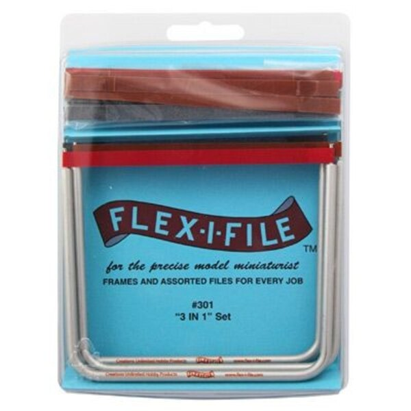 3 Anodized Aluminum Frames and 13 Assorted Abrasive Refill Tapes