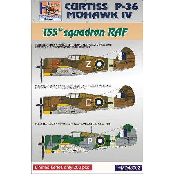 Décal Curtiss P-36 Mohawk IV. RAF (No.155 Sqn)