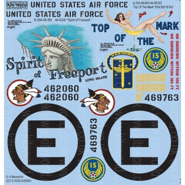 """Boeing B-29A Superfortress 'Top Of The Mark' 44-69763 93BS 19BG - B-29A-60-BN 44-6206 """"Spirit of Freeport"""" CIRCLE E 22nd Bomb Wi"""