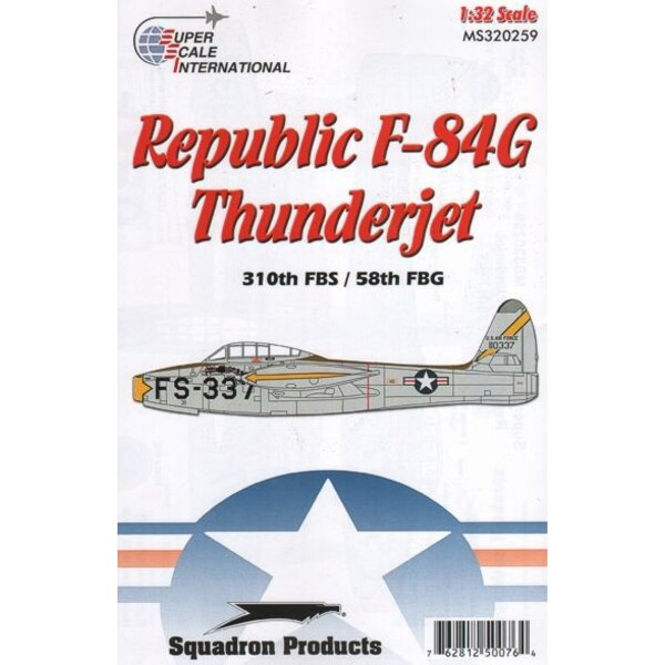 Republic F-84G Thunderjet 310TH FBS. Decals pour a single dragon-emblazoned USAAF Thunderjet: F-84G-16-RE s/n 51-10337 of the 31