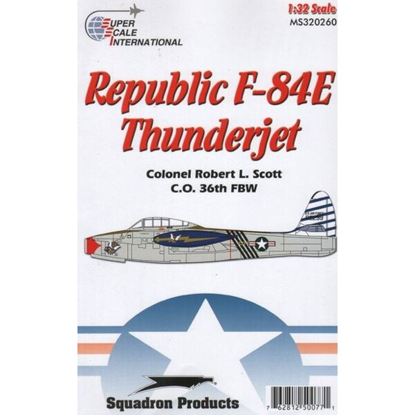 Republic F-84E Thunderjet. Decals pour a very colorful gold-trimmed USAAF Thunderjet: F-84E-10-RE s/n 49-2299, personal mount of