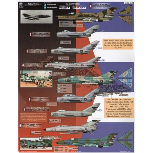 Décal Cuban Raiders Castros MiGs (17) MiG-15 Red 26 or 36; MiG-17 Red 101 or 237 or Blue 232; MiG-19 Red 89; MiG-21 (10) Red 602