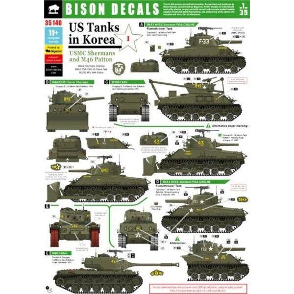 US Tanks in Korea (#1) . - USMC Sherman et M46 Patton. M4A3 (105) Dozer Sherman, M4A3 POA-CWS-H5 Flame Tank, M32B3 ARV, M46 Patt