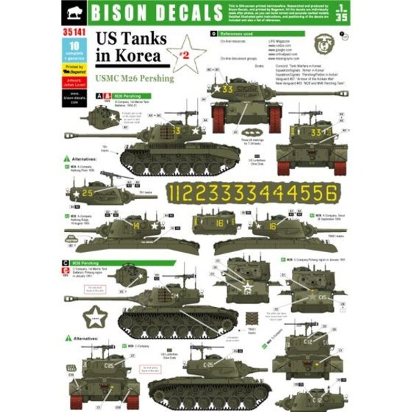 US Tanks in Korea (#2) . - USMC M26 Pershing. All turret numbers you need to build any M26 from A- or B-Company, plus some alter