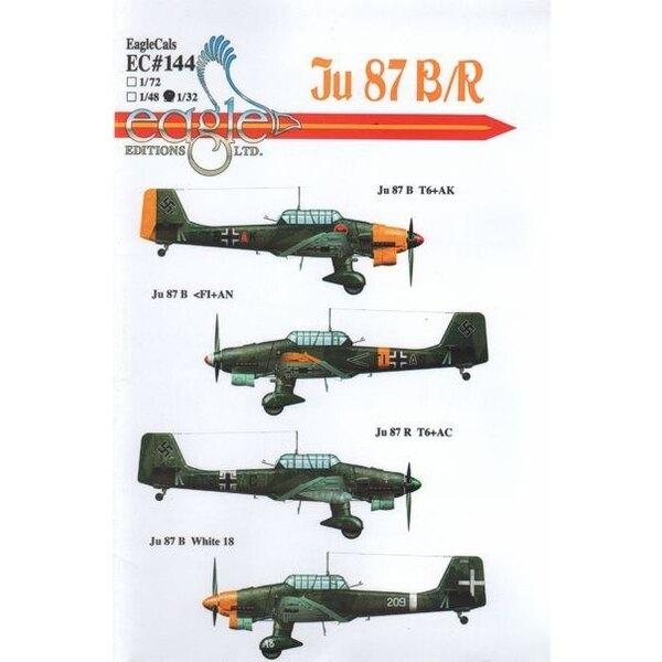 Décal Junkers Ju 87B/Ju 87R 'Stuka'. Ju 87B-2 T6+AK St.G 2; Ju 87B-2 <F1+AN 8./St.G. 77 Russie 1941; Ju 87R-2 T6+AC Stab II./